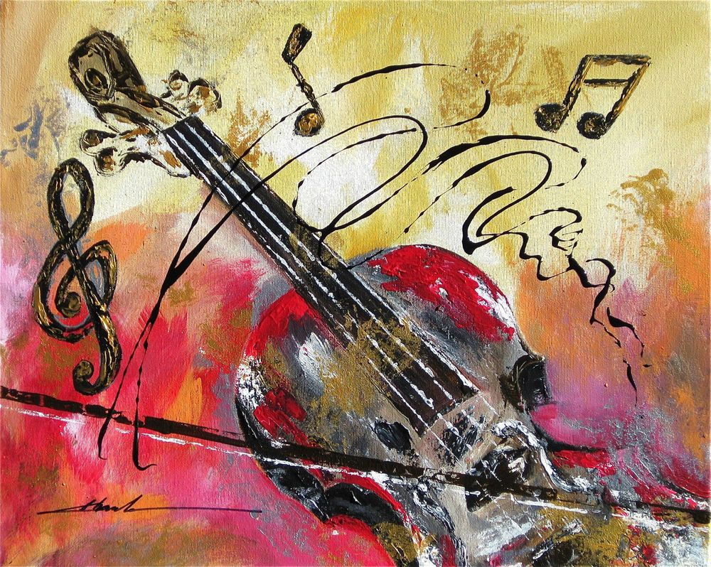 Orginal Art Absrtact Painting Violin Music Notes By Khanh Ha