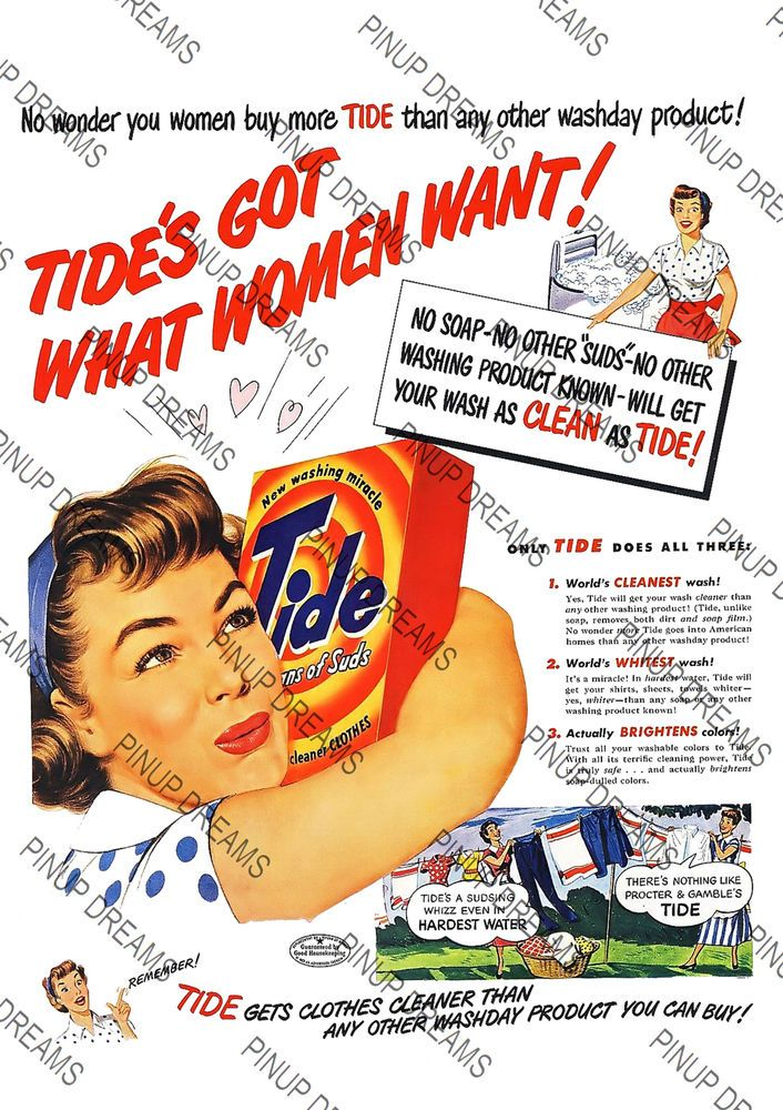 Details about 1940's Classic Vintage TIDE Washing Powder
