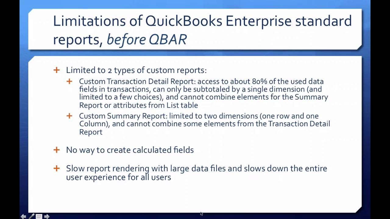 Quickbooks enterprise advanced reporting part 1