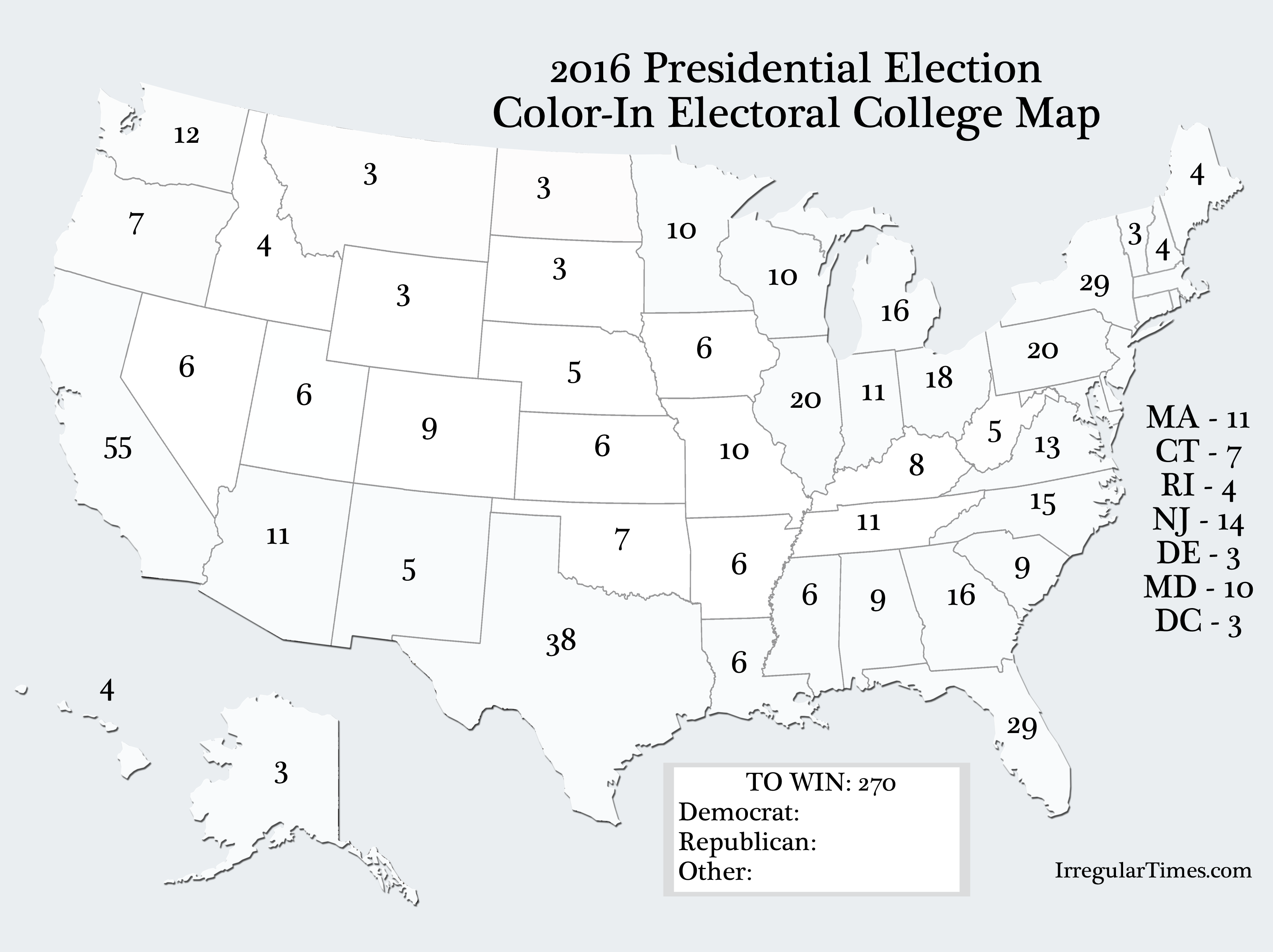 Worksheet Electoral College Map