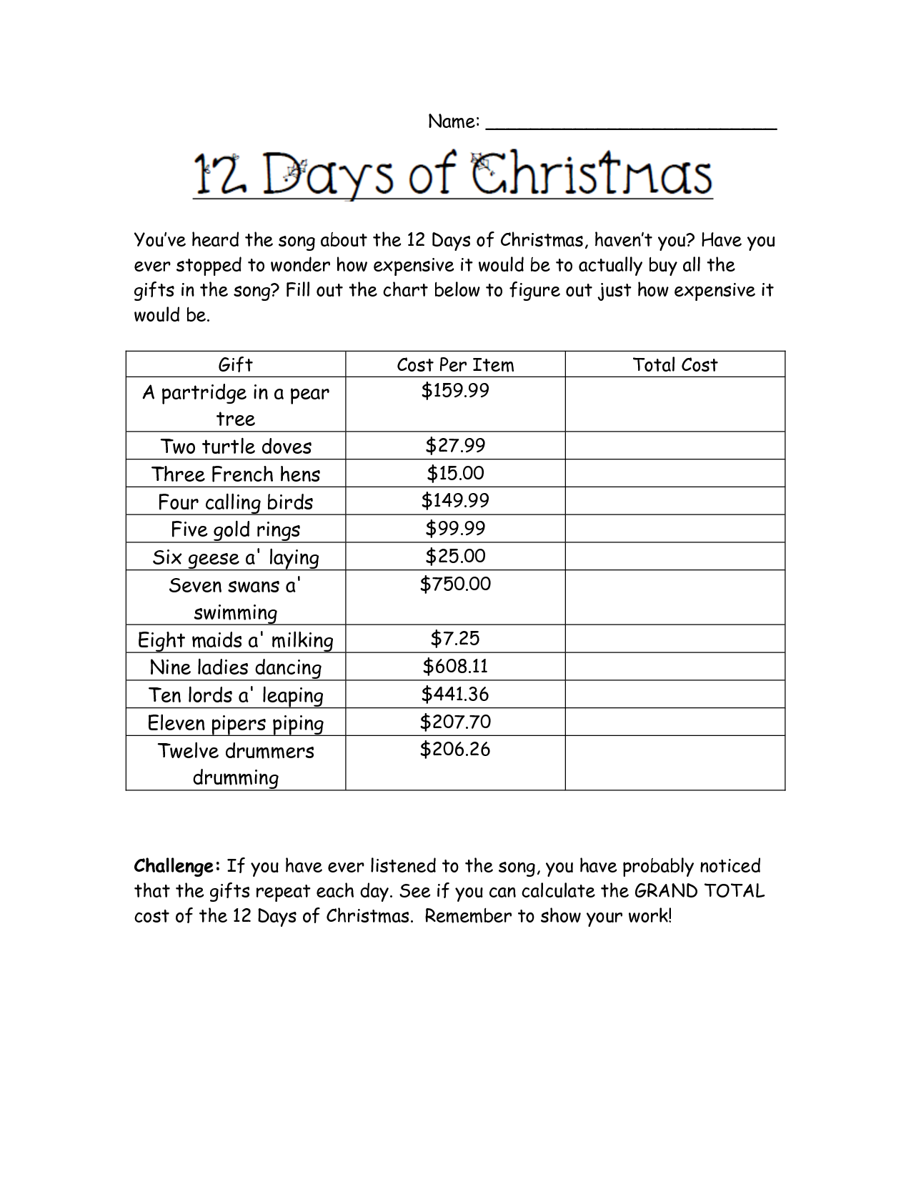 12 Days Of Christmas Costs.Holiday Math Worksheets Cost Of Christmas Worksheet Math