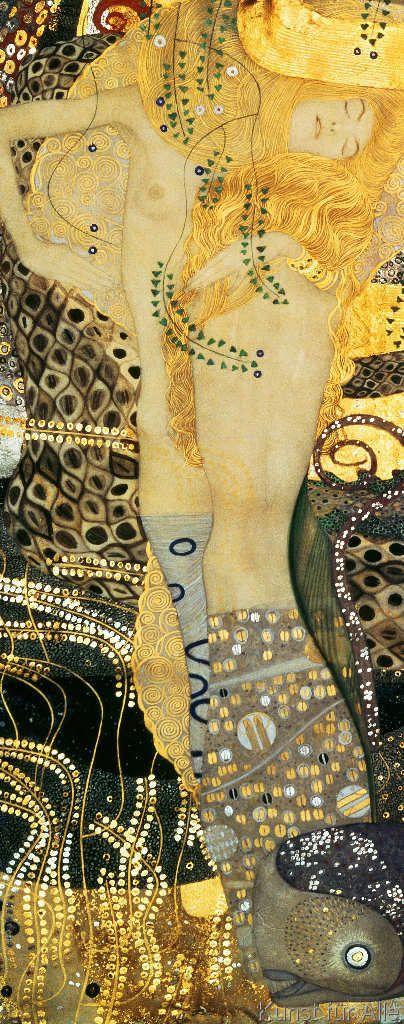 Photo of Gustav Klimt: Wasserschlangen I. Kunstdruck, Leinwandbild, Gerahmtes Bild