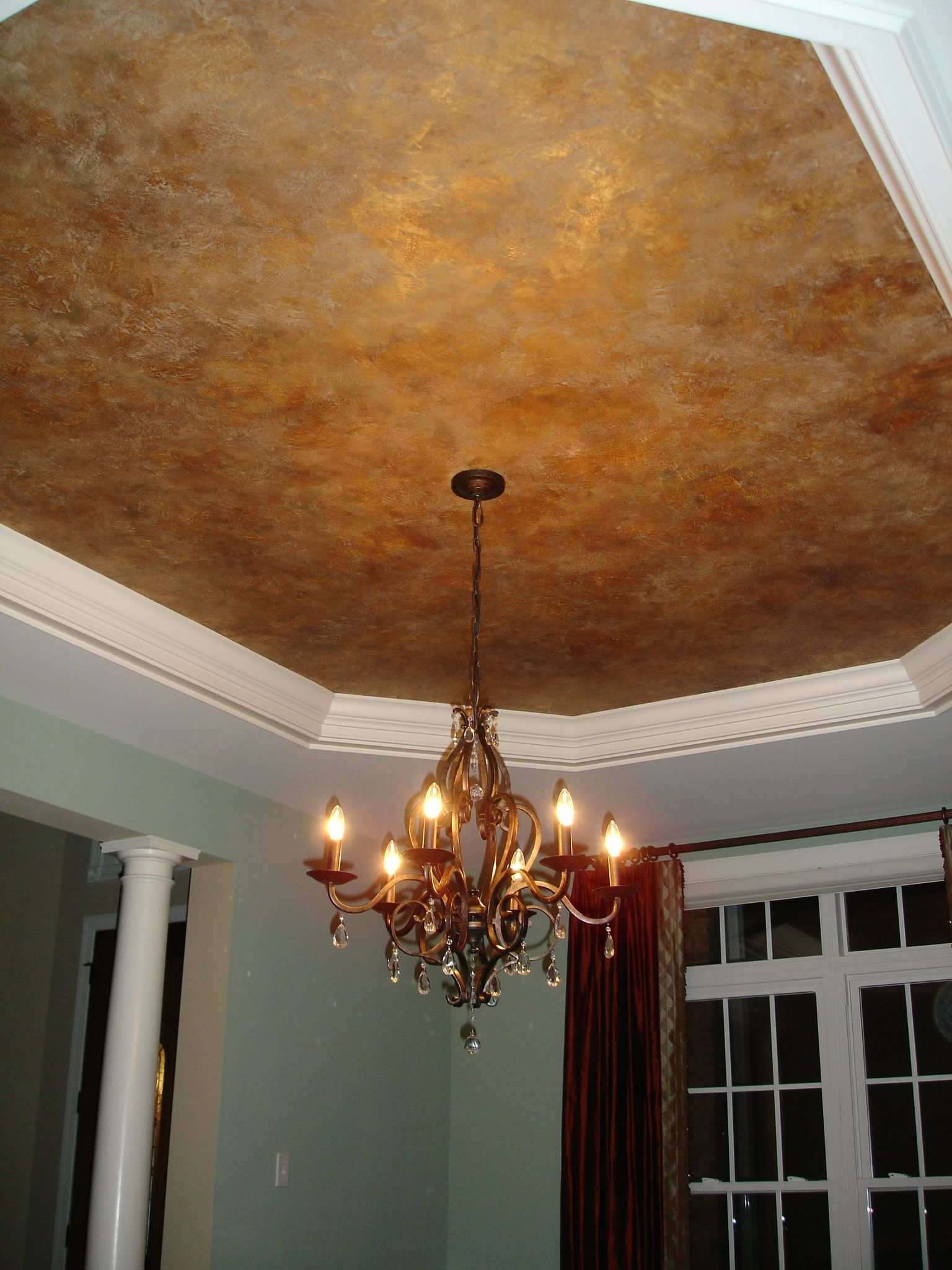 Faux finish ceiling metallic color mottle vignola house - Paint finish for bedroom ...