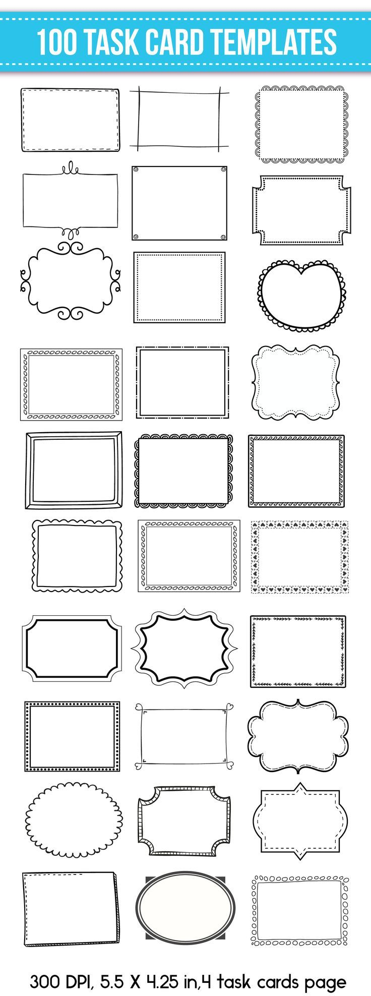 Task Card Templates Editable 100 Back To School Ready With Tpt
