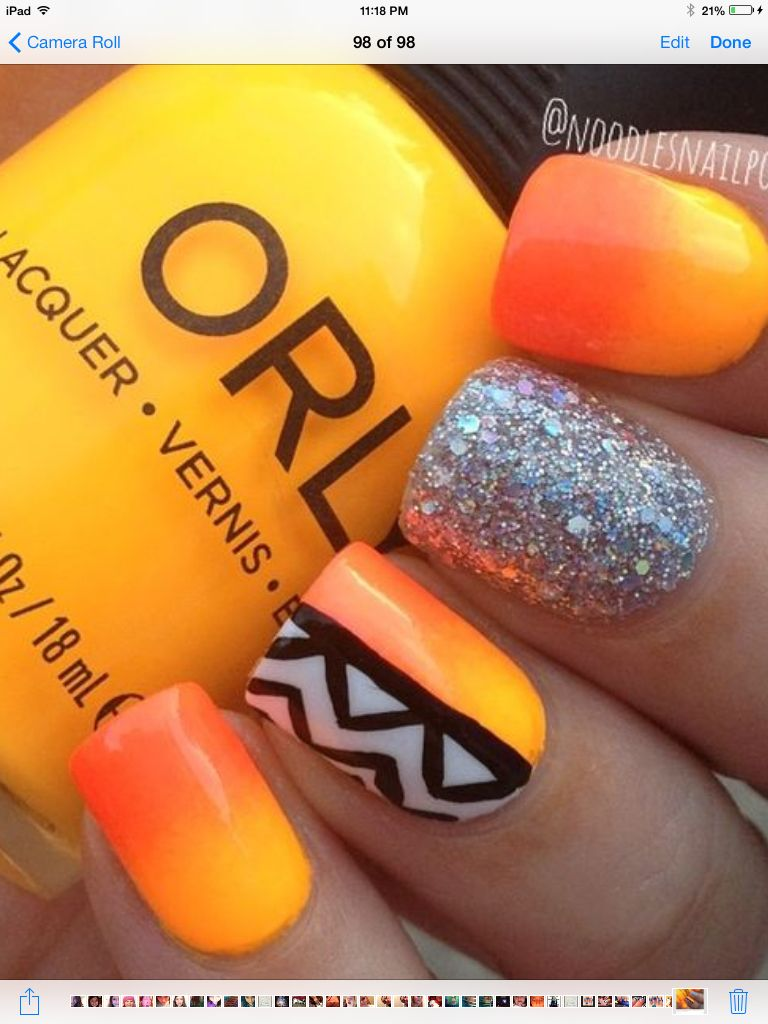 Neon orange black and white glitter mani