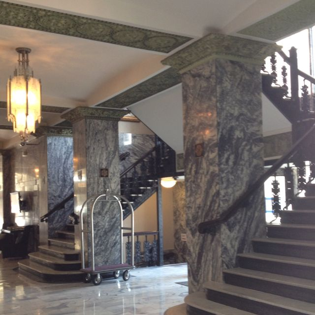 Amazing lobby in #OklahomaCity #Concordia #Hotel with original grey marble and green detailed molding