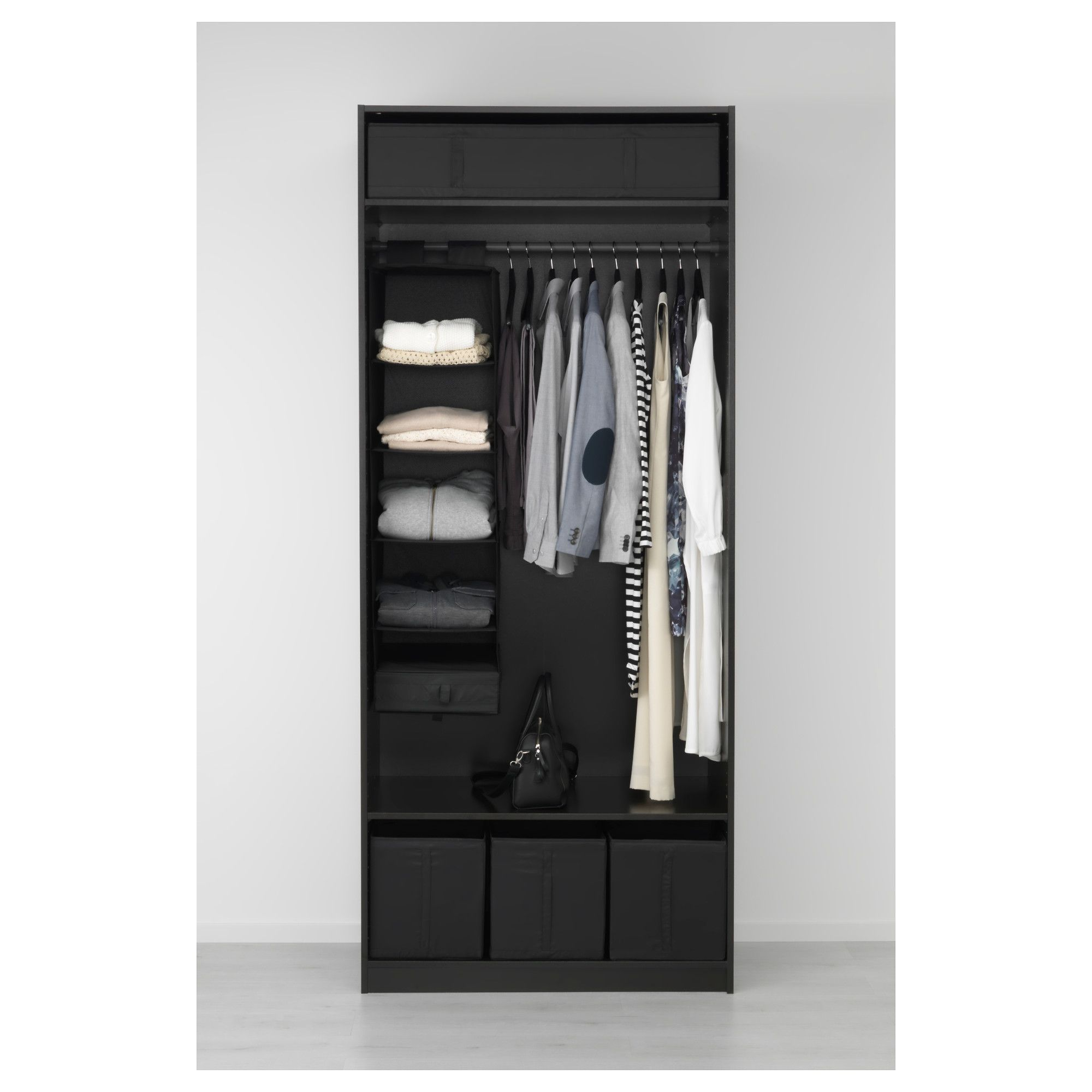 PAX Wardrobe blackbrown, Ballstad white 39 3/8x23 5