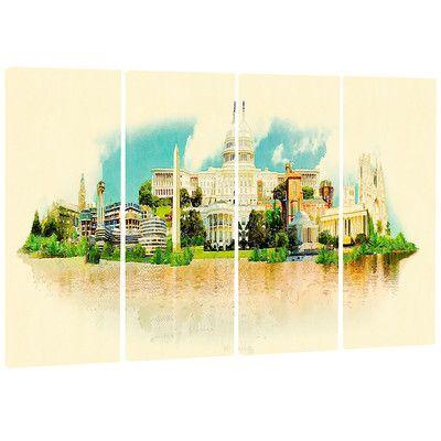 DesignArt Washington Panoramic View - Cityscape 4 Piece Painting Print on Wrapped Canvas Set