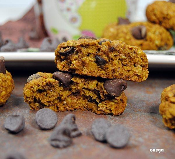 Cookies de calabaza, avena y chocolate