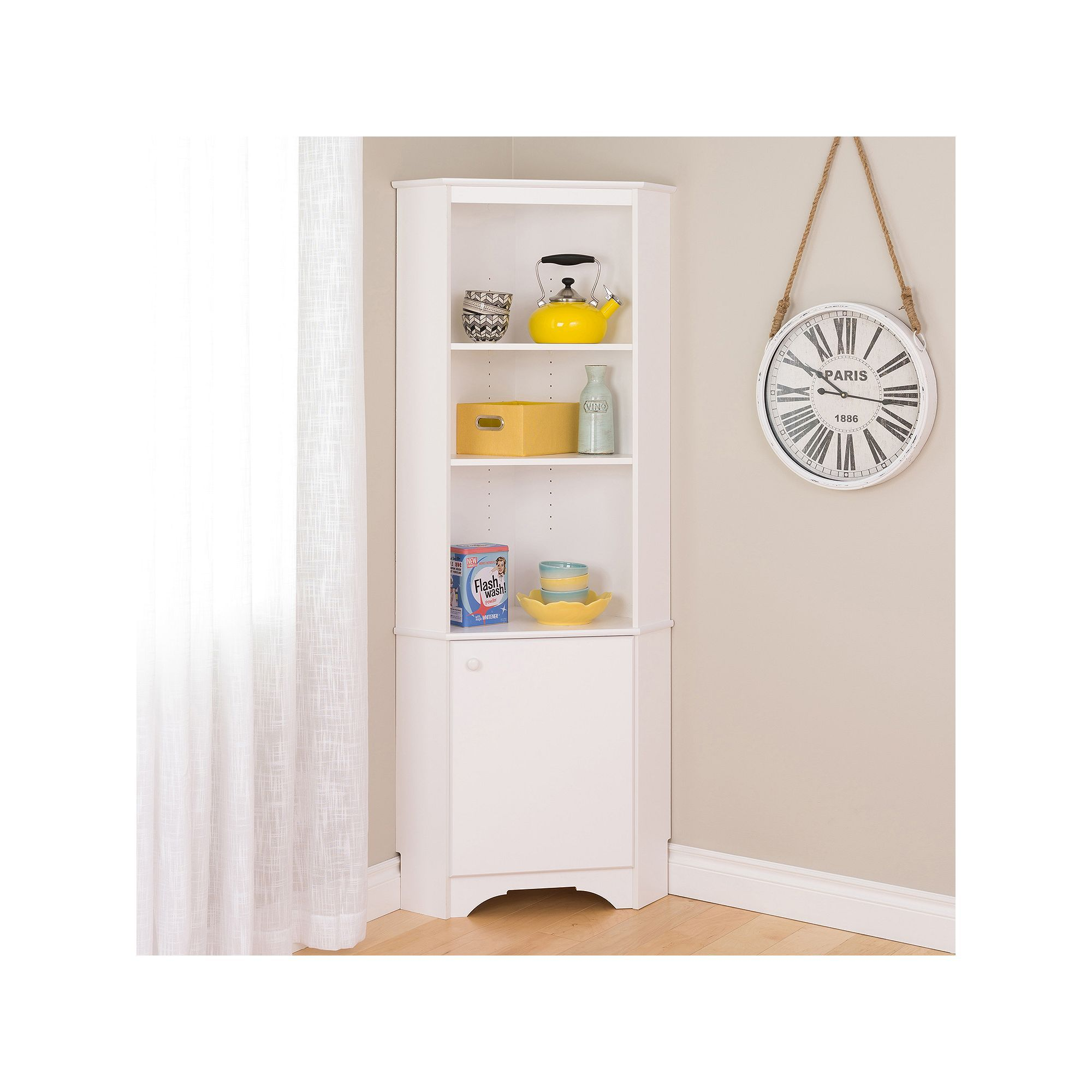 Prepac Elite Tall 1 Door Corner Storage Cabinet Tall Corner Cabinet White Storage Cabinets Corner Storage Cabinet