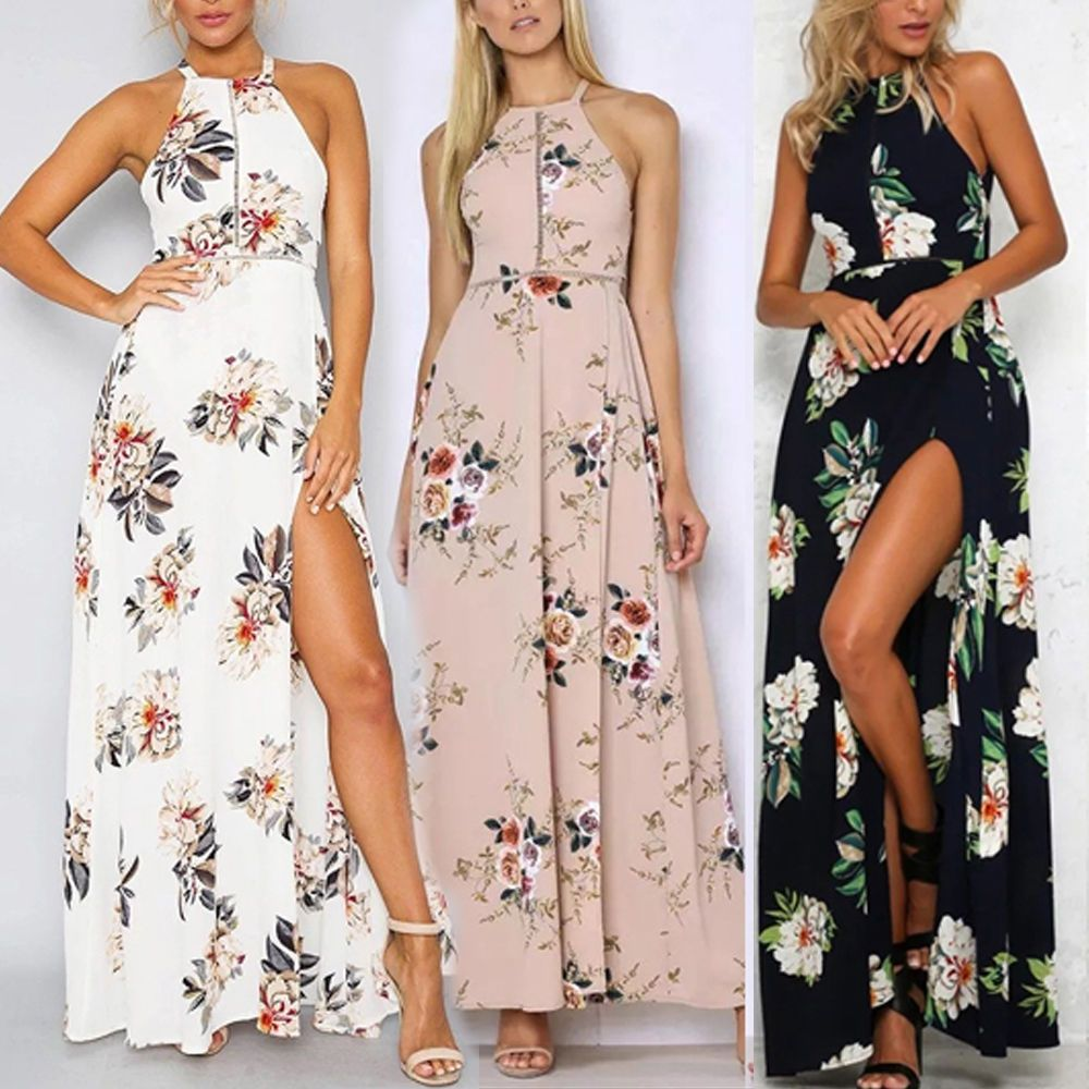 8494d88f32d8 Women Summer Boho Floral Off Shoulder Beach Evening Cocktail Long Maxi Dress  hy