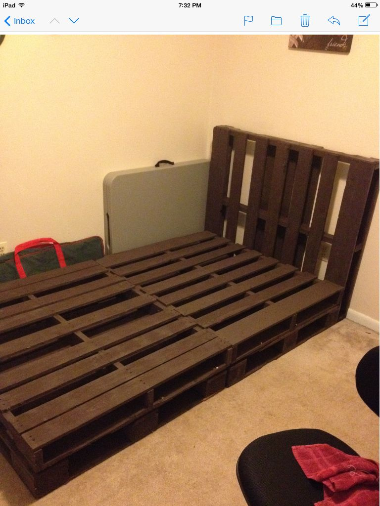 pallet bed we created all attached and awaiting a full size mattress and comforter set another. Black Bedroom Furniture Sets. Home Design Ideas