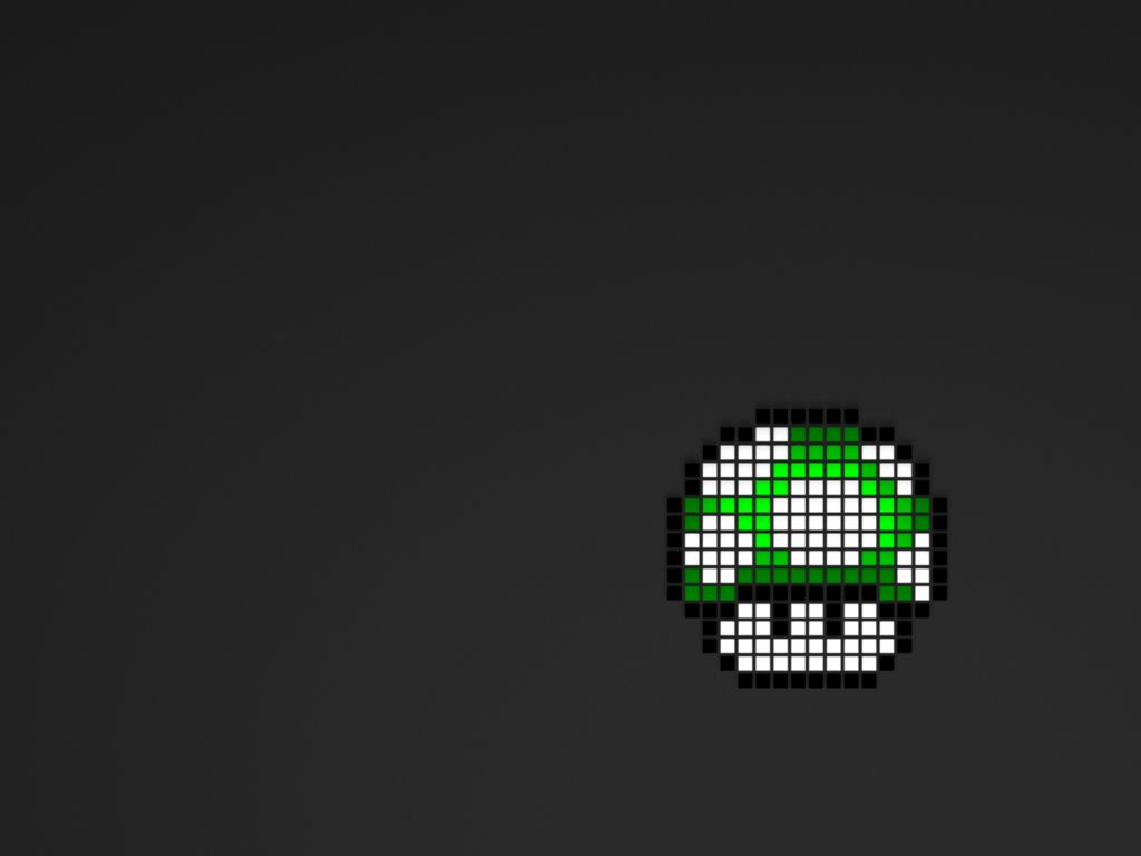 Nintendo video games Mario mushrooms pixel art Wallpaper