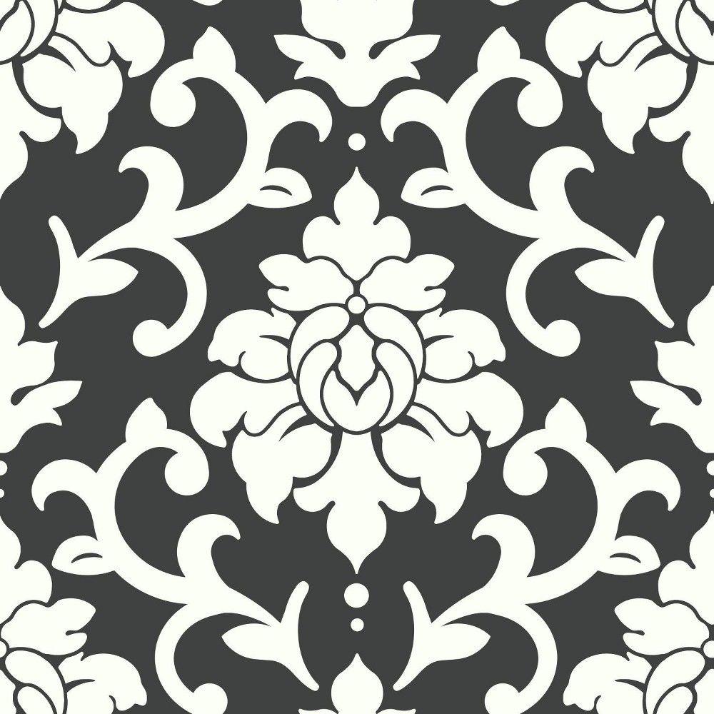Roommates Damask Peel Stick Wallpaper Black In 2020 Wallpaper Roll Peel And Stick Wallpaper Vinyl Wallpaper