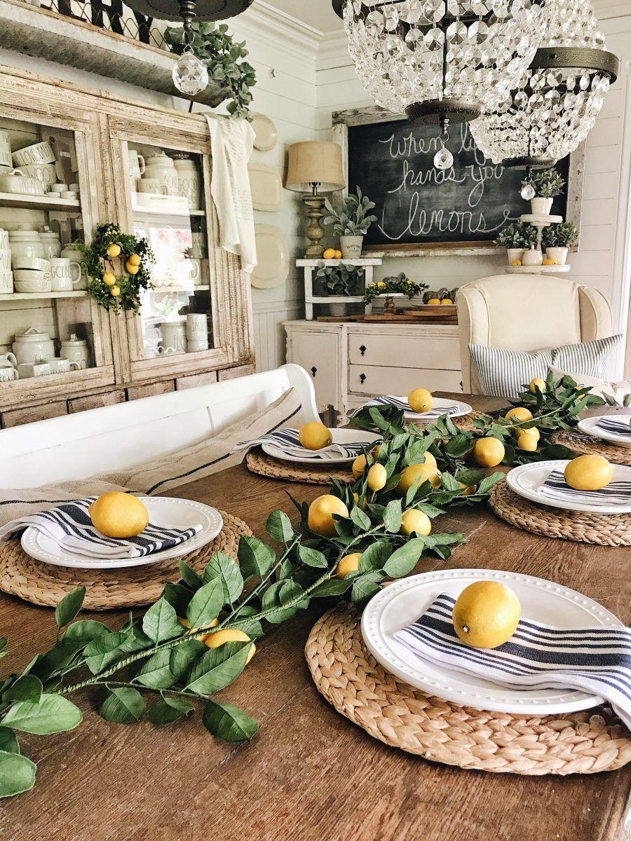 Summer Lemon Farmhouse Dining Room Lemon Kitchen Decor