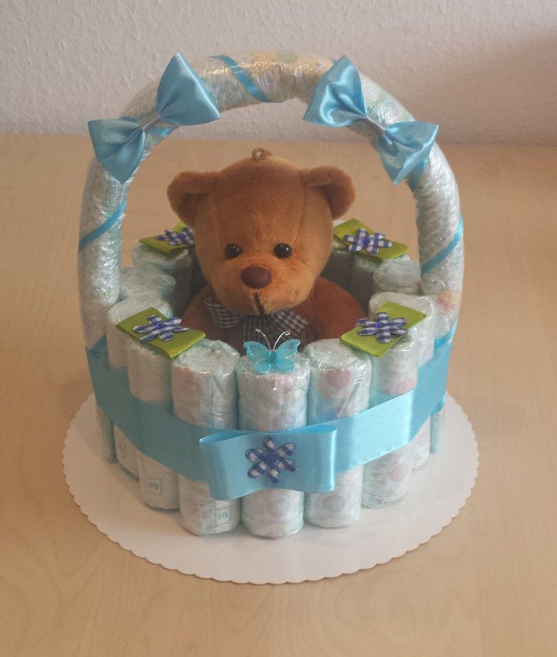 windeltorte korb blau geburt taufe geschenk f r jungs baby party pampers 3 for sale eur. Black Bedroom Furniture Sets. Home Design Ideas