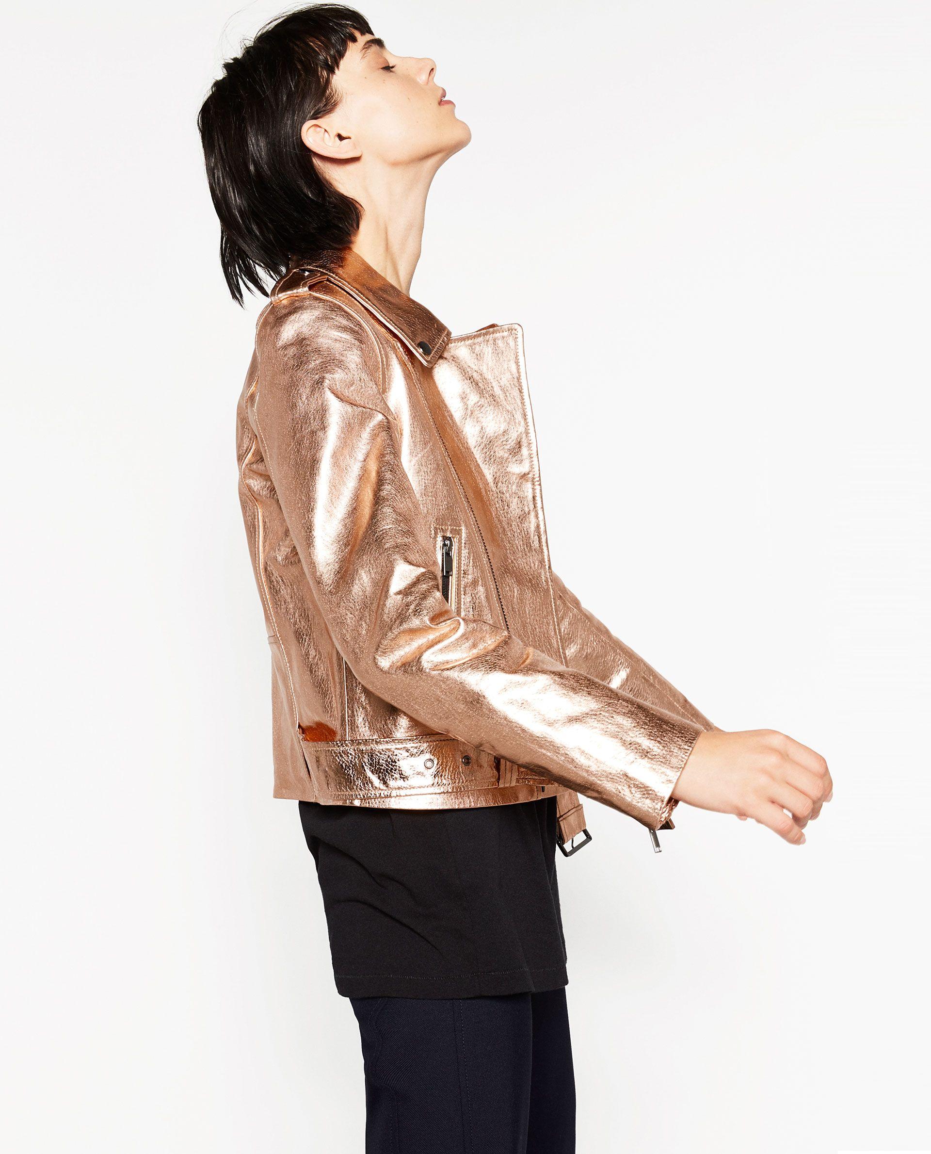 ΔΕΡΜΑΤΙΝΟ ΜΕΤΑΛΛΙΖΕ ΜΠΟΥΦΑΝ Women, Leather jacket, Zara