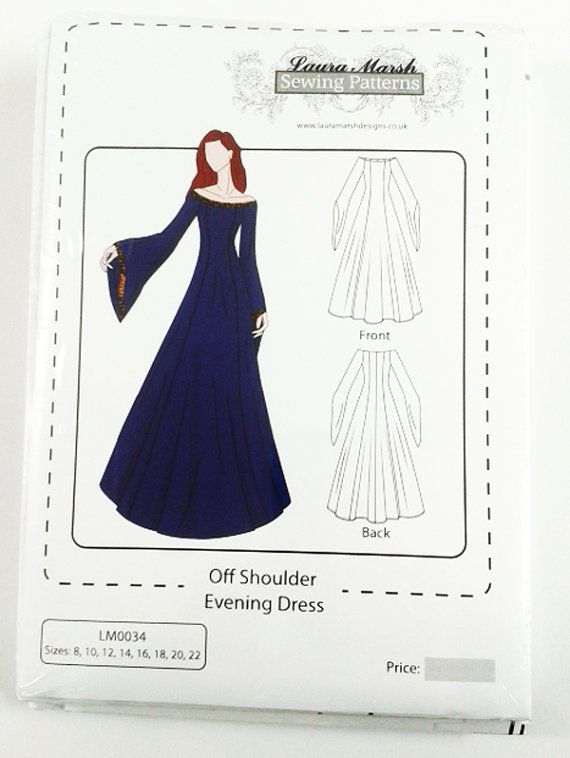 Off Should Evening/Medieval Dress Sewing Pattern Sizes 8-22 NEW ...