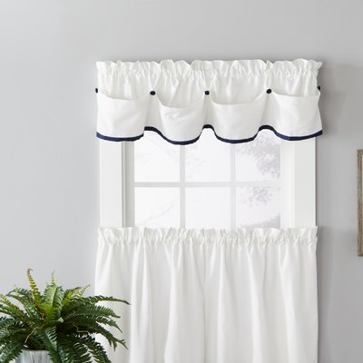 August Grove Pilgrim Tier Paired Kitchen Curtain Color Navy Size 57 W X 36 L Colorful Curtains Curtains