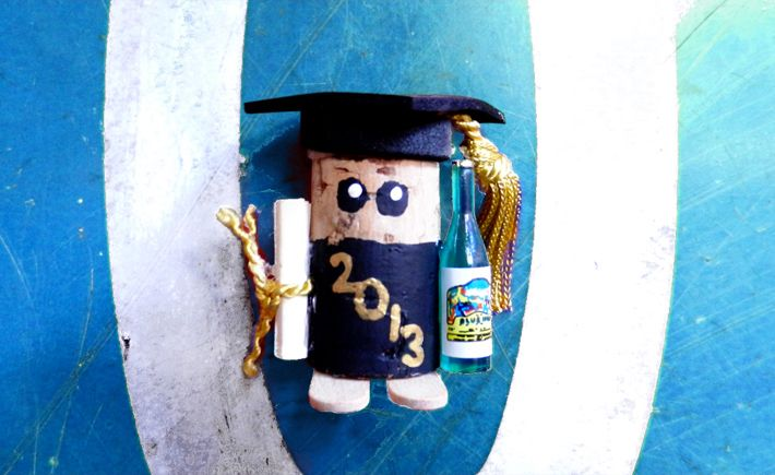 Recycled wine cork magnet.    Graduation corky, Congratulations!