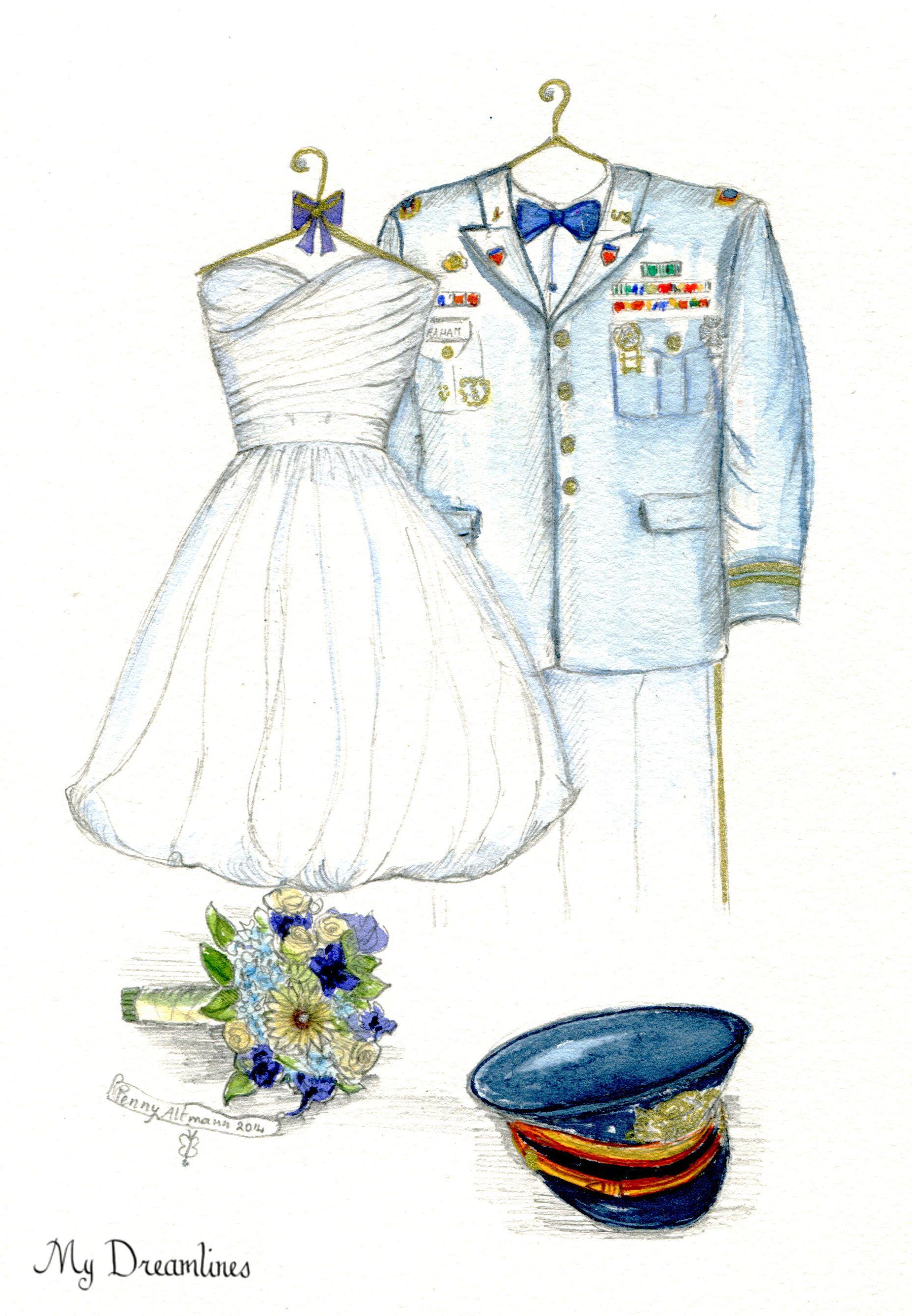 Sketch Of Uniform Wedding Dress FREE Bouquet