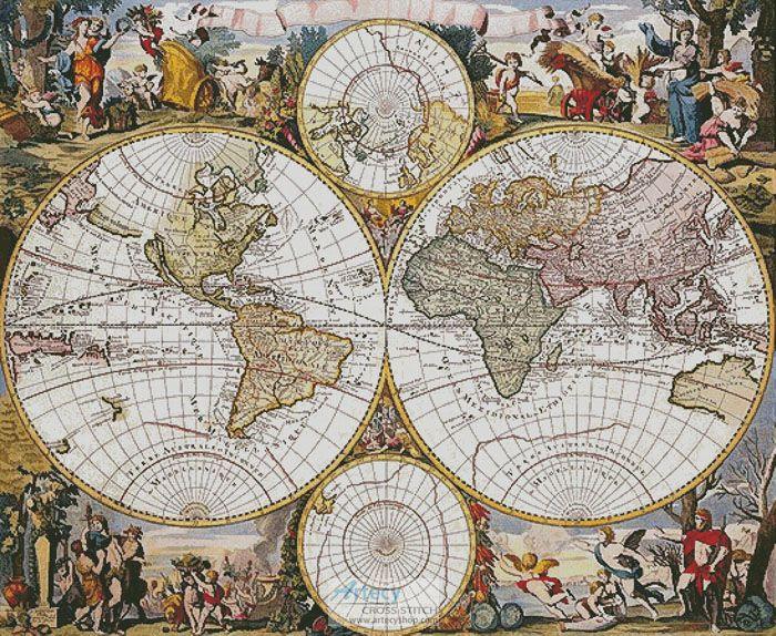 Artecy Cross Stitch Old World Map Cross Stitch Pattern to print - copy world map vector graphic