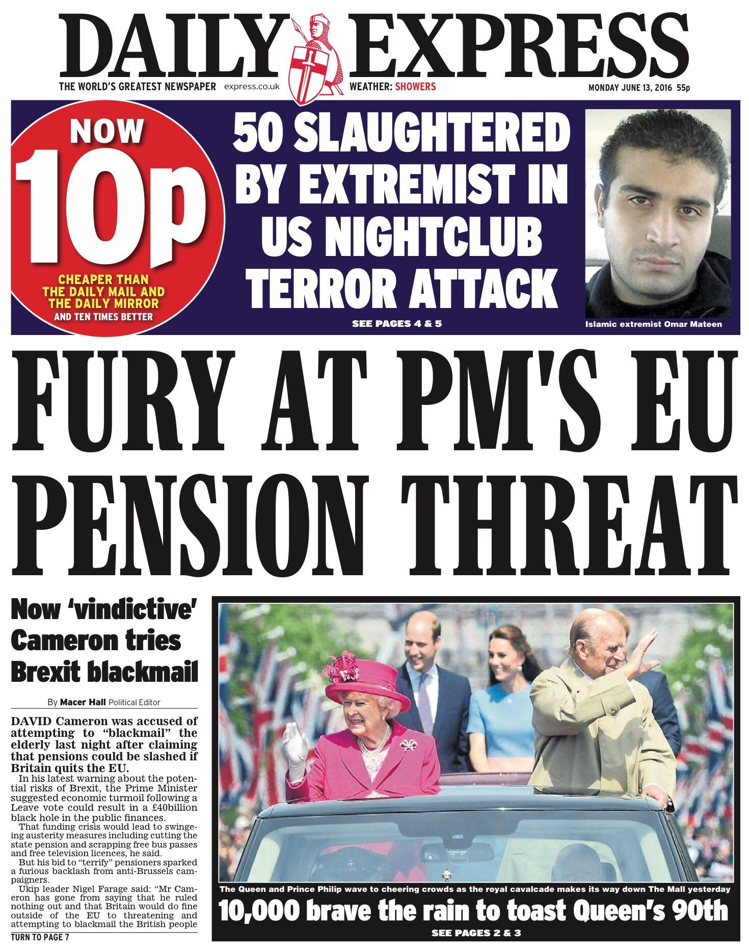 Monday's Daily Express: Fury at PM's EU pension threat #tomorrowspaperstoday #bbcpapers https://t.co/wCOserkLPa
