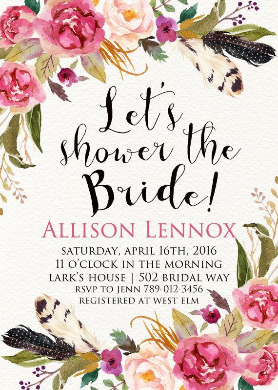 Boho Chic Bridal Shower Invitation Printable by INVITEDbyAudriana