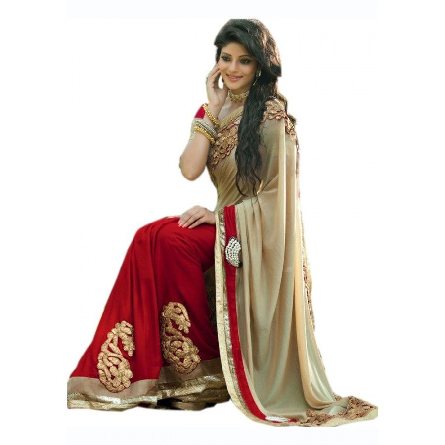 Tempting Georgette Embroidered Work Festive Wear & Party Wear Saree at just Rs.820/- on www.vendorvilla.com. Cash on Delivery, Easy Returns, Lowest Price.