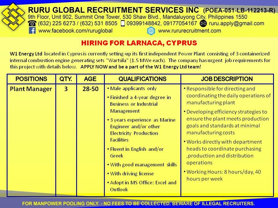 Cyprus Hiring For Plant Manager Operator And Technician Plant