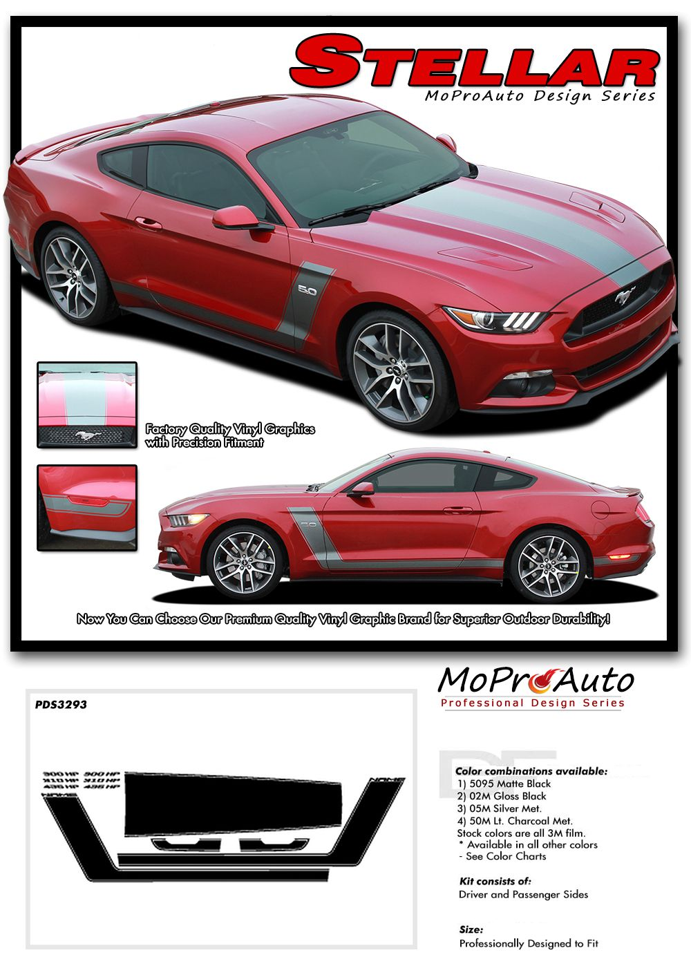 Pin On 2015 2016 2017 2018 Ford Mustang Vinyl Graphic Stripe Kits