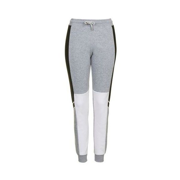 TopShop Colour Block Jogger (€19) ❤ liked on Polyvore featuring activewear, activewear pants, black and topshop