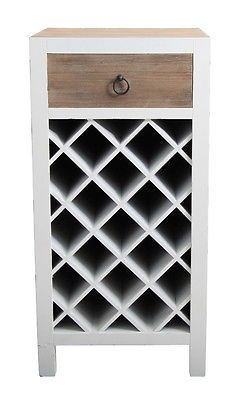 Casa Uno WooDen Wine Rack 1 Drawer Storage Cabinet Bottle HolDer  Brown/White NEW Part 50