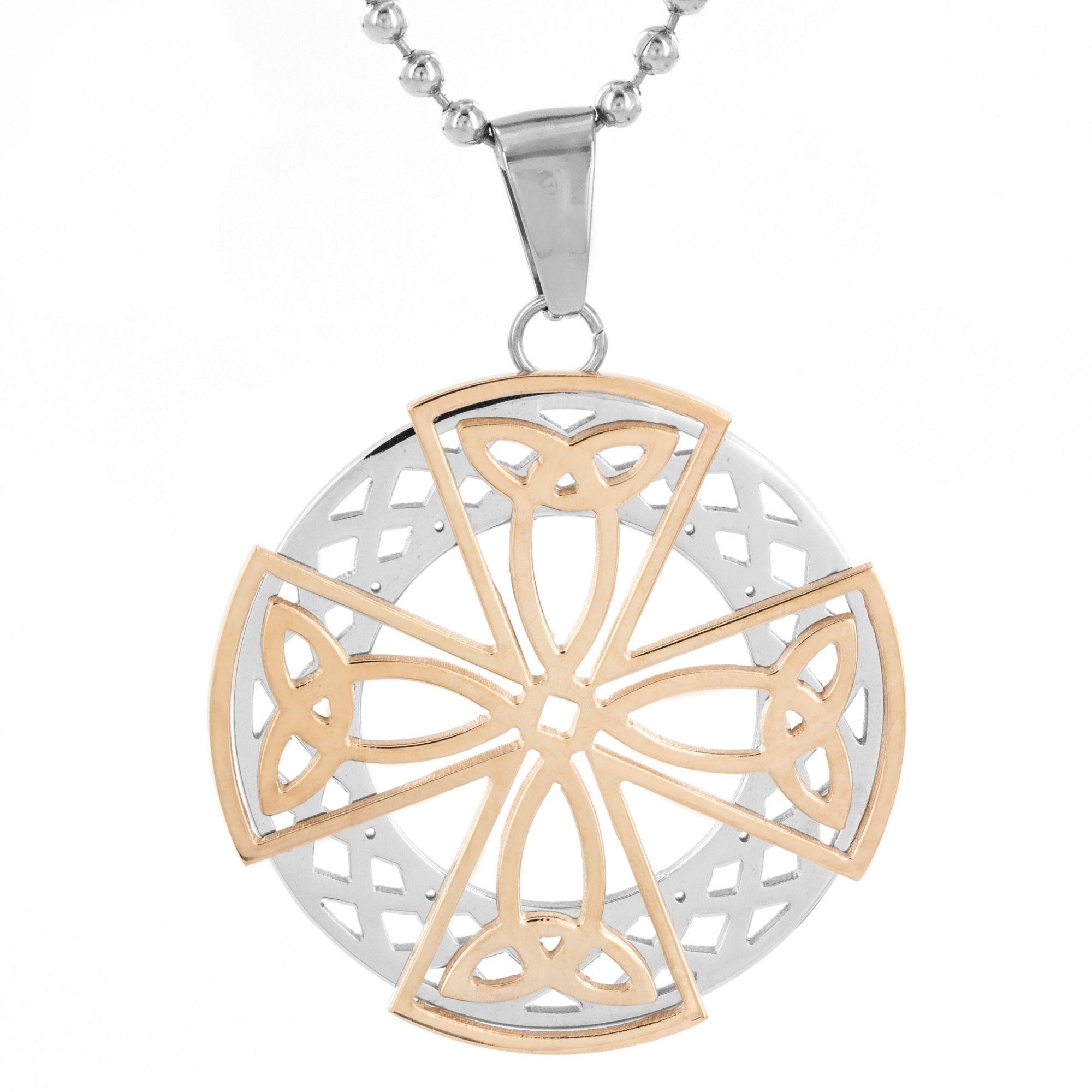 West Coast Jewelry Men's Stainless Steel Celtic Cross Medallion Pendant Necklace