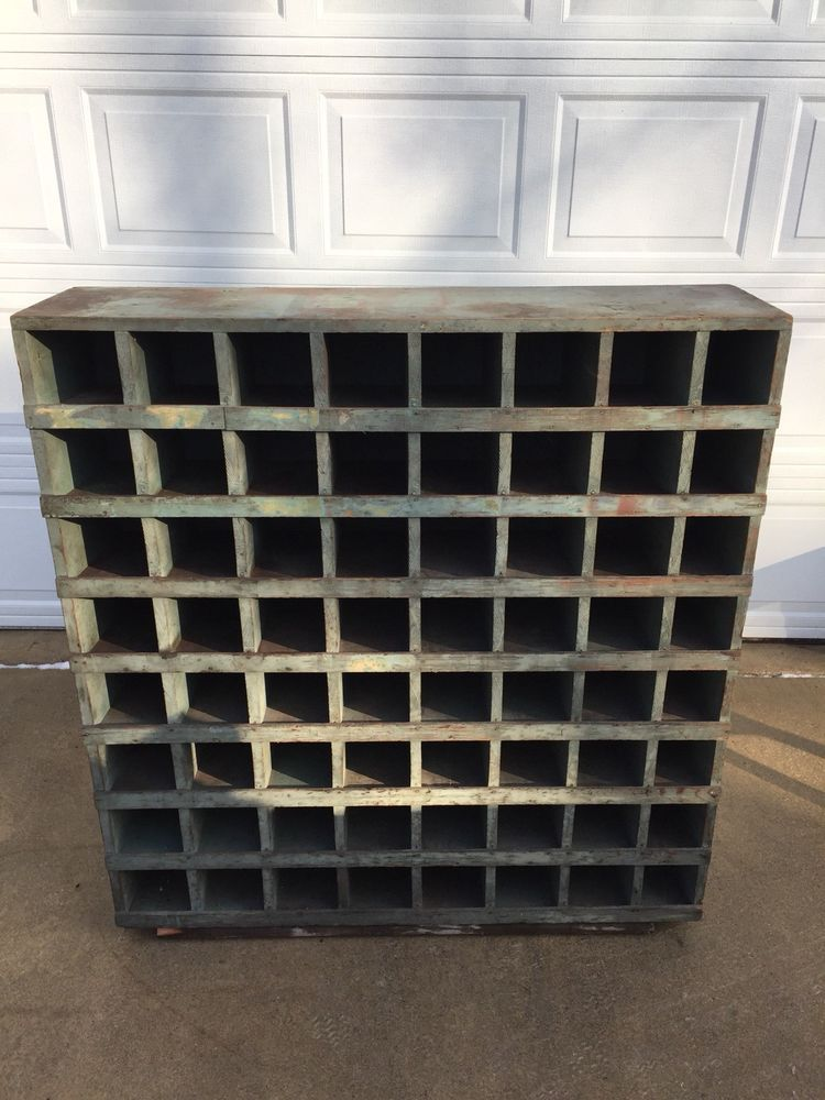 49 Tall X 12 Deep X 46 Wide 64 Cubby Hole Storage Bins Each Opening Is 5 Wide And 4 1 2 Tall Barn Find Grea Cubby Hole Storage Cubbies Storage Cabinet