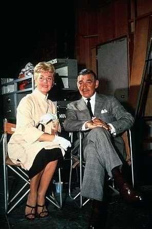 "On the set of ""Teacher's Pet"" (1958)  Doris Day and Clark Gable"