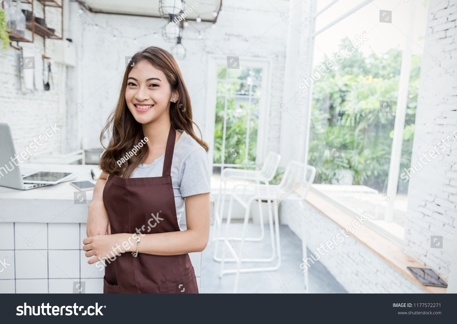 Startup Successful Small Business Owner Sme Beauty Girl Standing