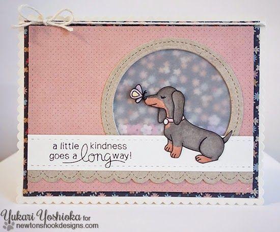 A Little Kindness Dachshund Card by Yukari Yoshioka | Delightful Doxies Stamp set by Newton's Nook Designs