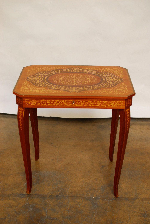 Italian Inlaid Wood Music Box Table By Erinlaneestate On Etsy