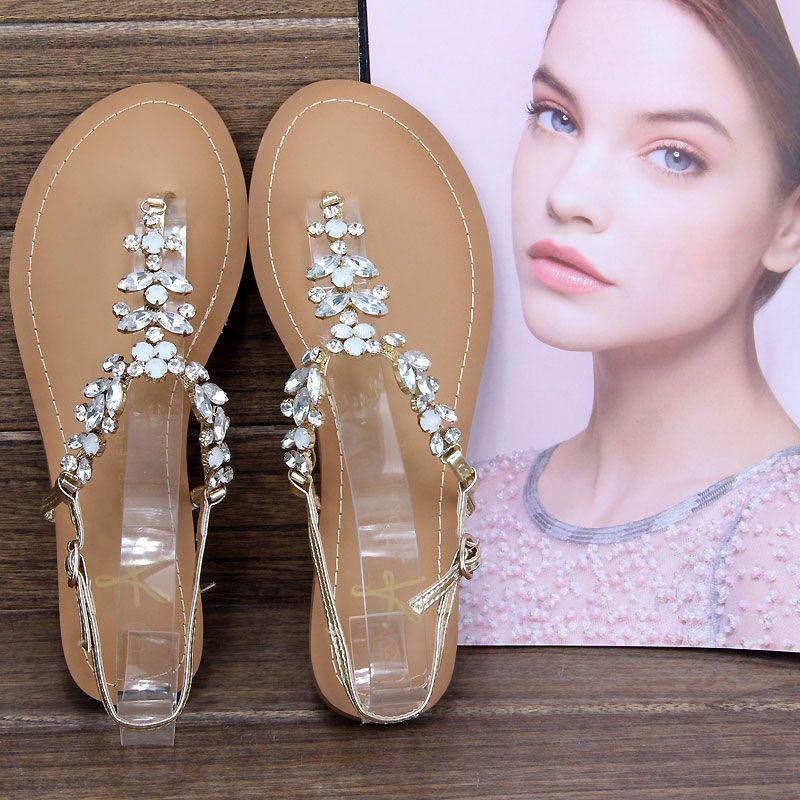 Gold designer flat sandals