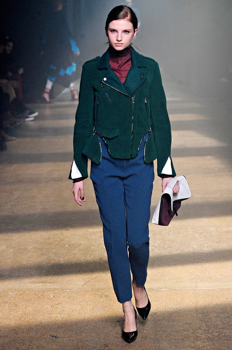 3.1 Phillip Lim fall 2012 - stunning biker jacket in forest green. Looks soft & divine too.