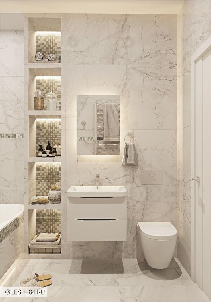 Ванная с мраморным кафелем в светлых тонах Bathroom with marble tiles in bright colors | Banheiros modernos, Interior do banheiro, Decoração banheiro pequeno