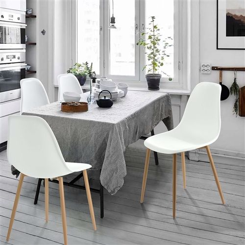 set of 4 modern mid century style dining chairs in white with wood rh pinterest com
