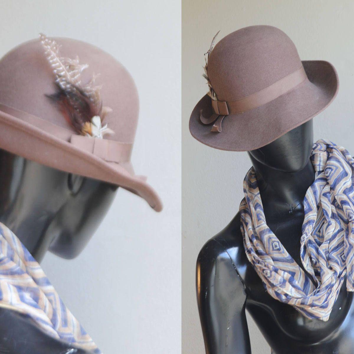 25a6c9c36aa Vintage Geo. Bollman Doeskin Wool Felt Brown Fedota Hat with Feathers