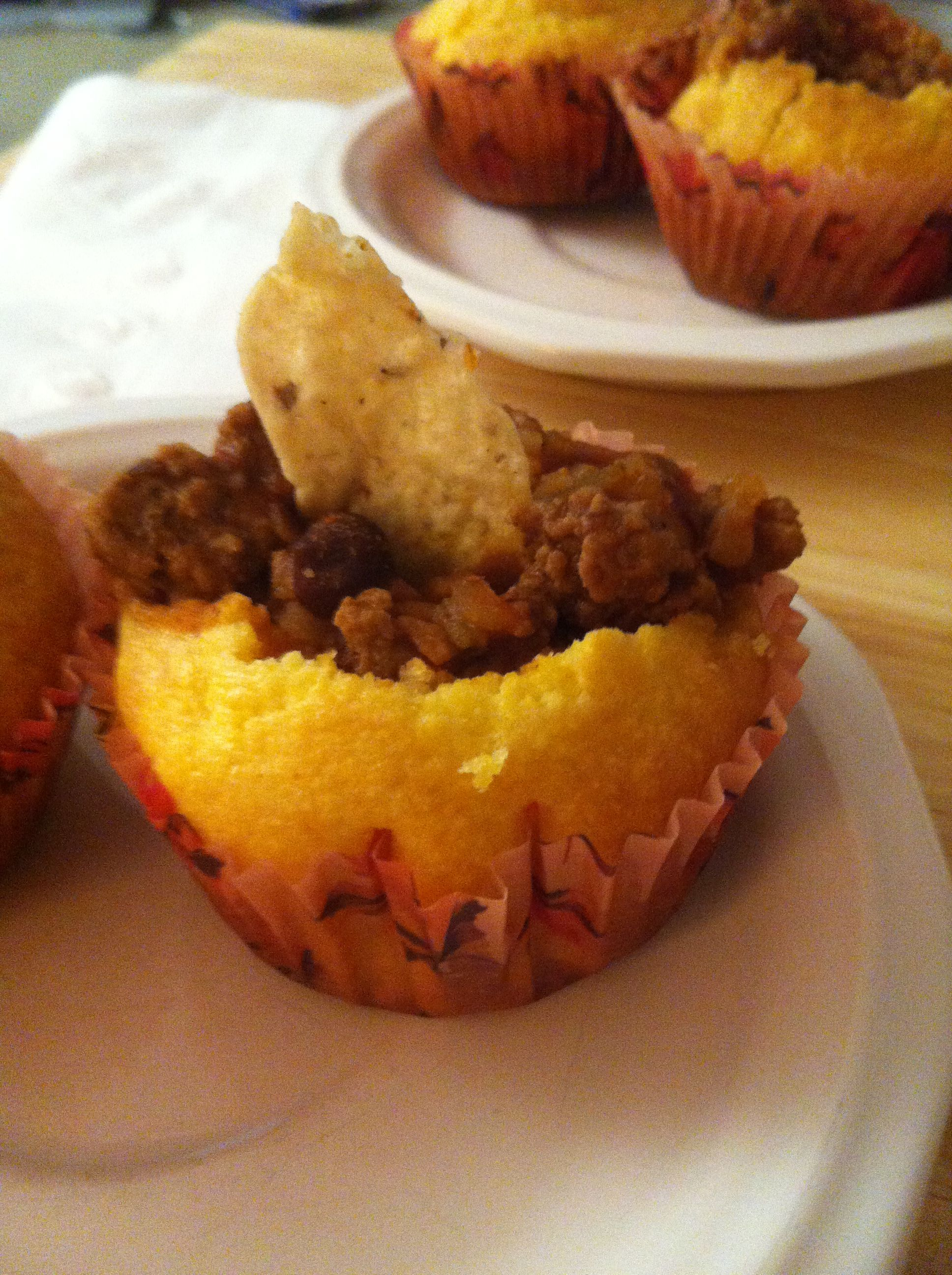 Cornbread muffins with chili and a tortilla chip! Yum!