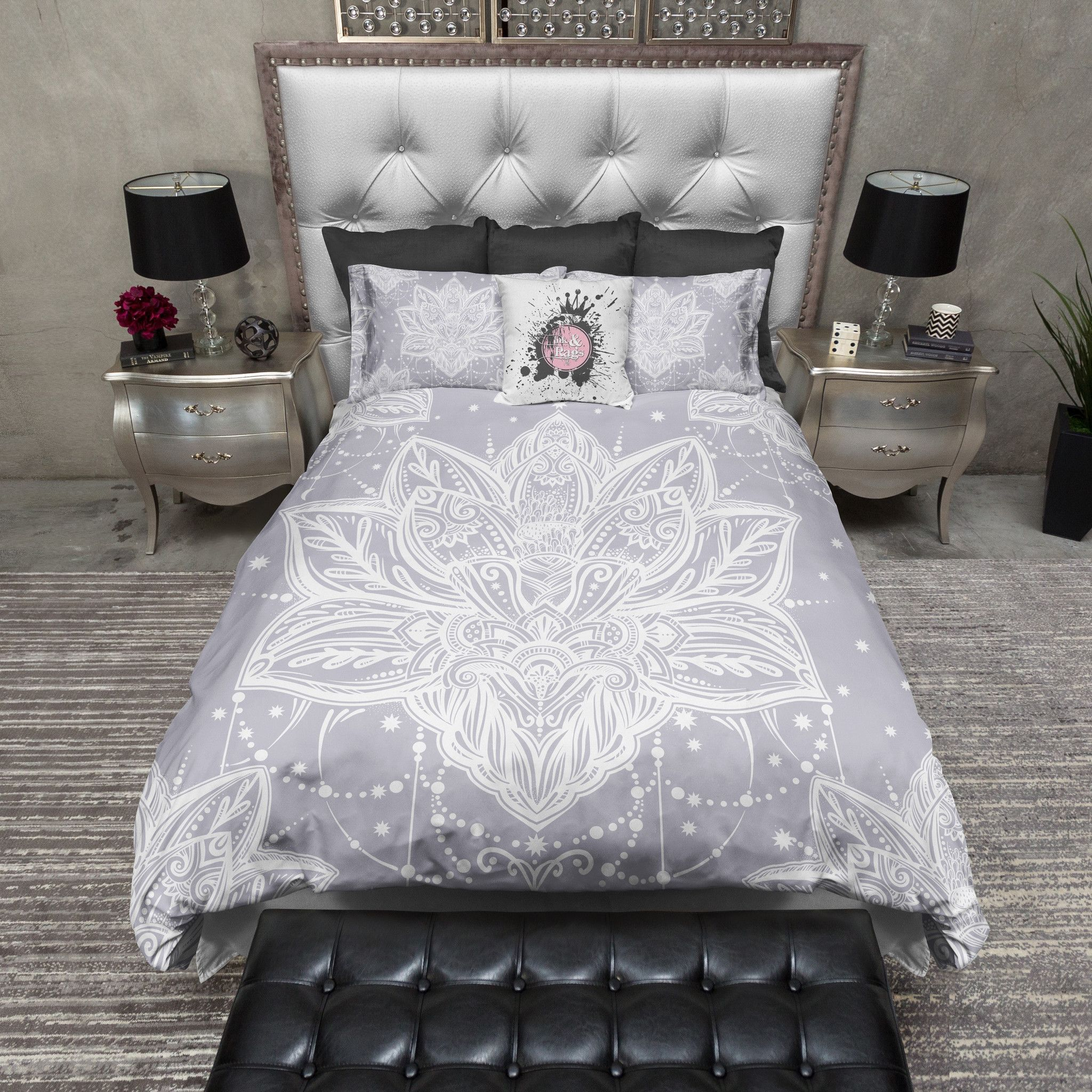 Lilac Grey Boho Lotus Blossom Bedding Master Bedroom