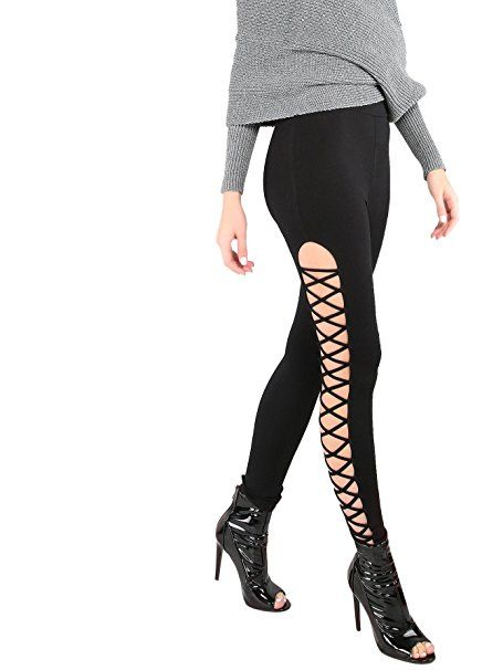 2af77dcc5cafaa SweatyRocks Leggings Women Yoga Workout Pants High Waist Cutout Tights  (X-Small, #1Black)