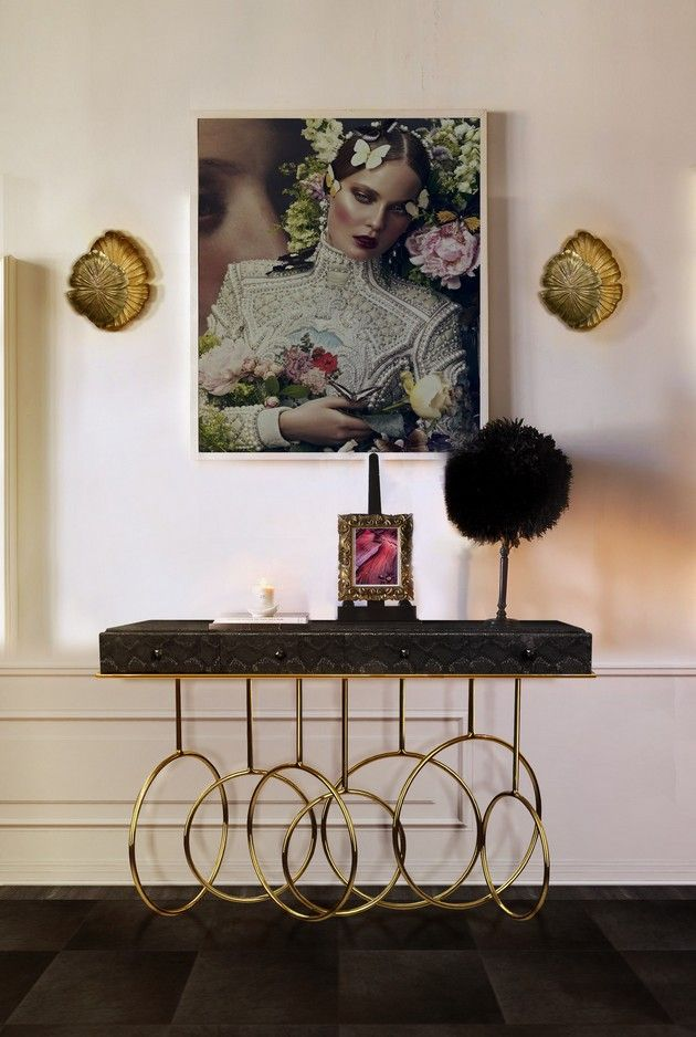 Merveilleux Passion Sconce And Burlesque Console,black Console, Luxury Furniture