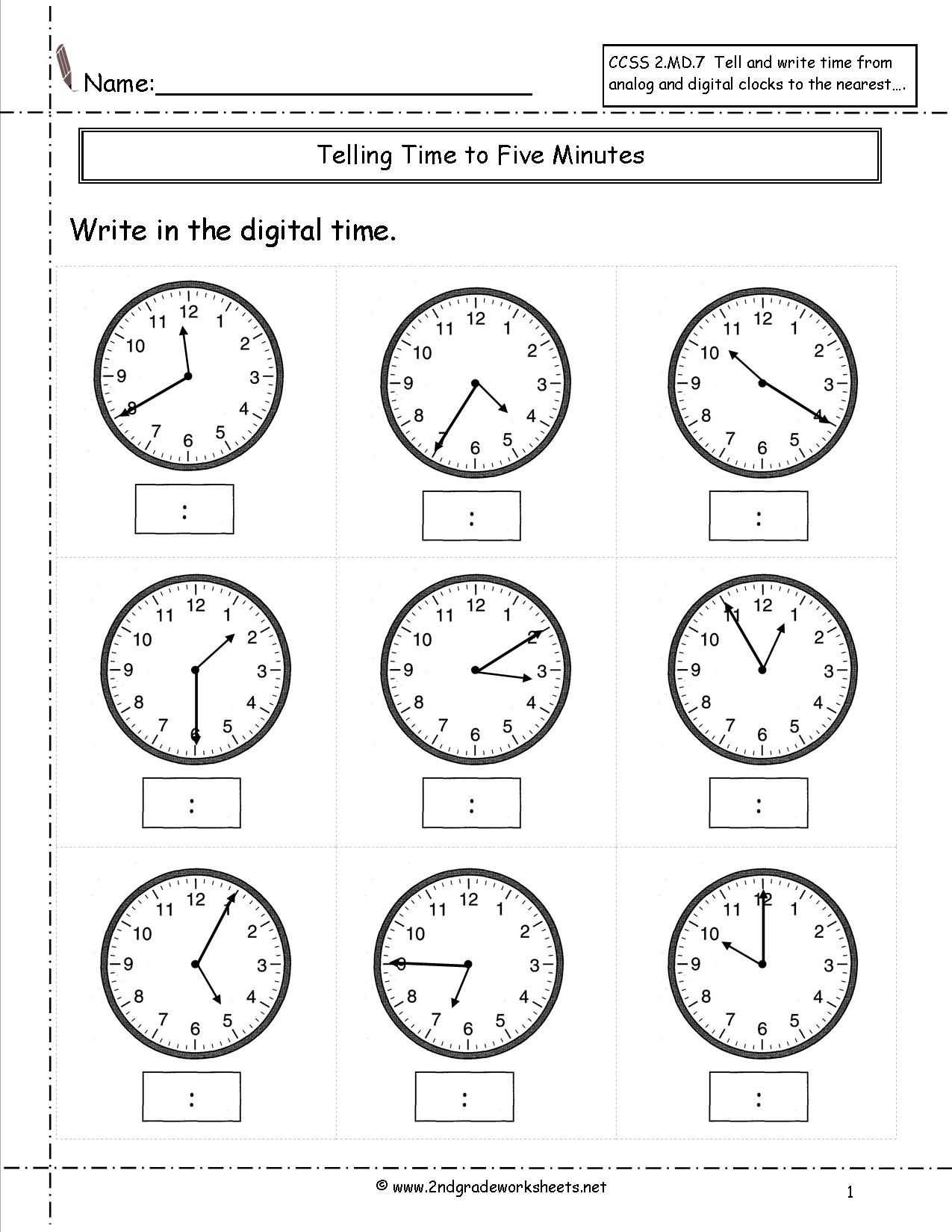 Telling Time To Nearest Five Minutes Worksheet Telling Time