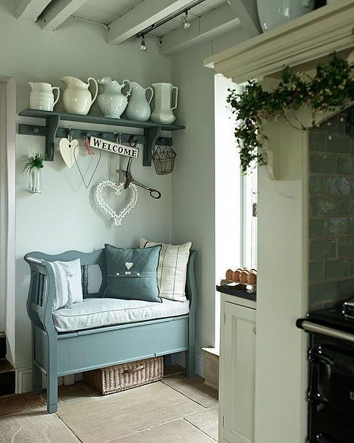 Cool Calm And Functional Kitchen: Simple Cool Colours. Painted Furniture On An Old Stone